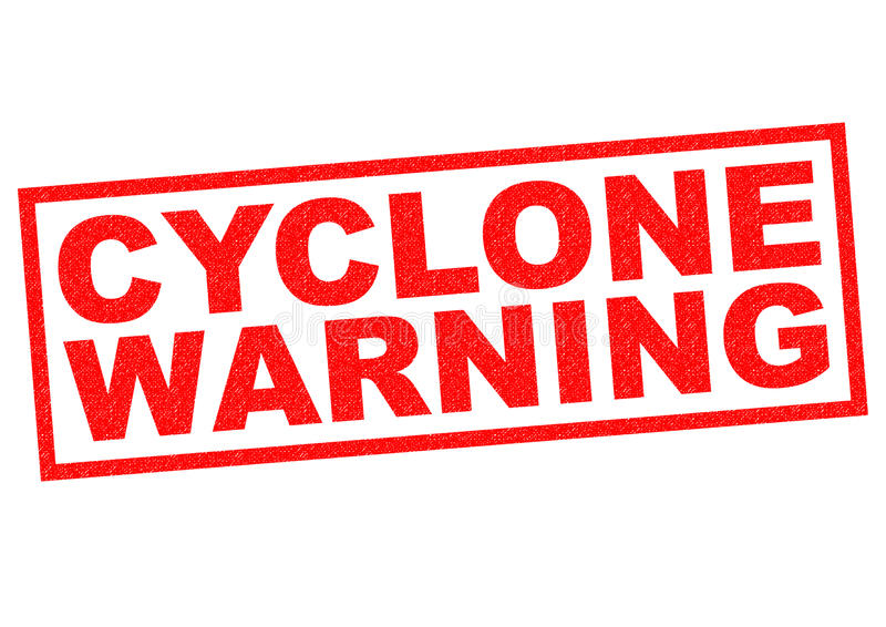 CYCLONE WARNING. Red Rubber Stamp over a white background stock illustration