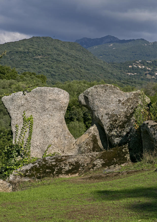 Cyclopean masonry and menhirs on the hills of Filitosa, Southern Corsica. Sourounded by magical ancient olive groves, Filitosa is an awsome megalithic stock photos