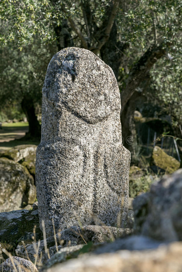 Cyclopean masonry and menhirs on the hills of Filitosa, Southern Corsica. Sourounded by magical ancient olive groves, Filitosa is an awsome megalithic stock photography