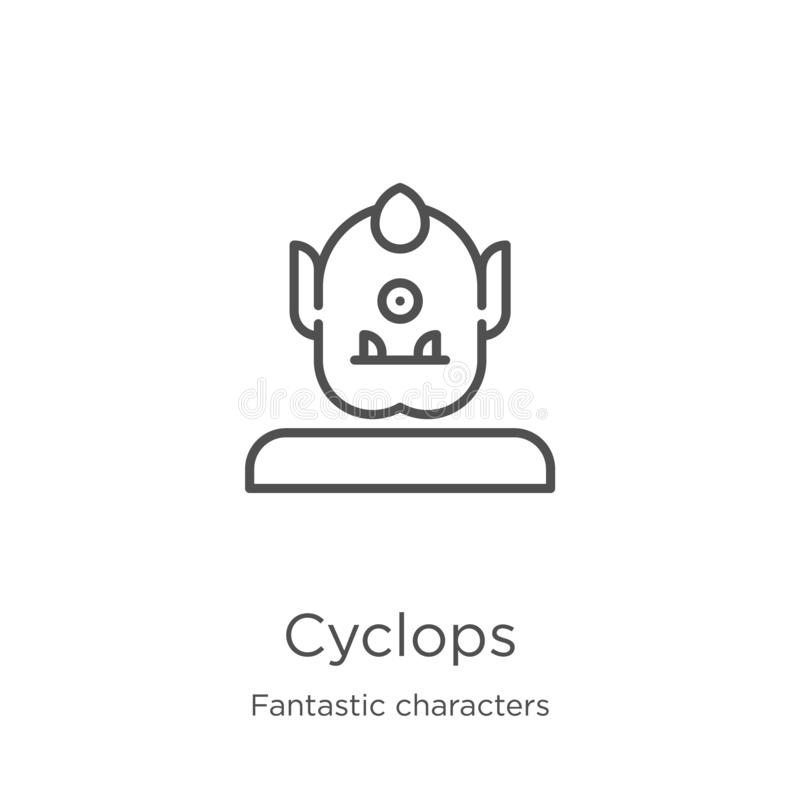 cyclops ikony wektor od fantastycznych charakterów inkasowych Cienka kreskowa cyclops konturu ikony wektoru ilustracja Kontur, ci ilustracji