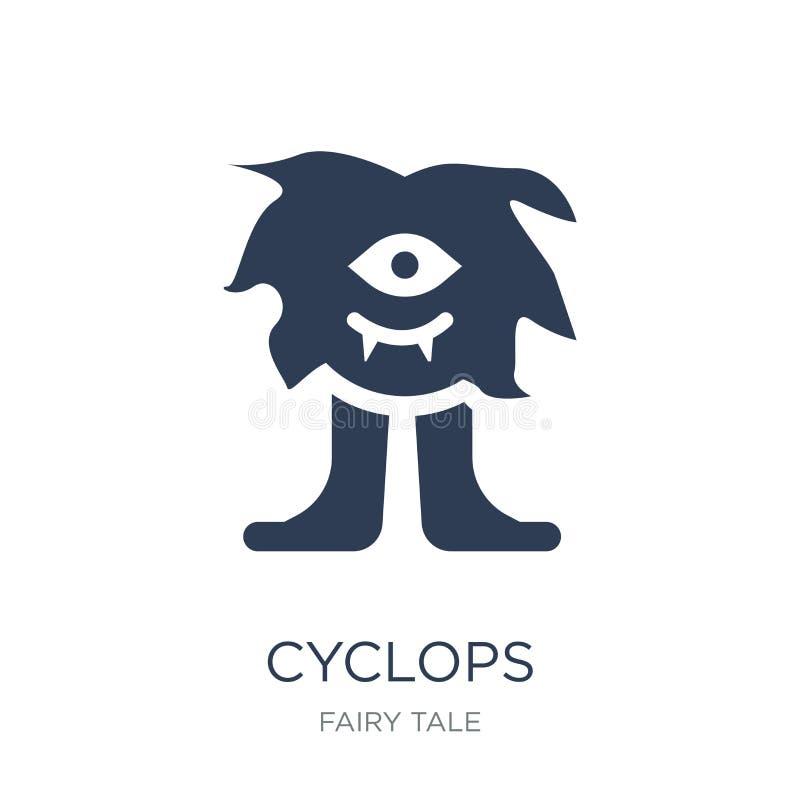 Cyclopssymbol Moderiktig plan vektorCyclopssymbol på vit backgroun stock illustrationer