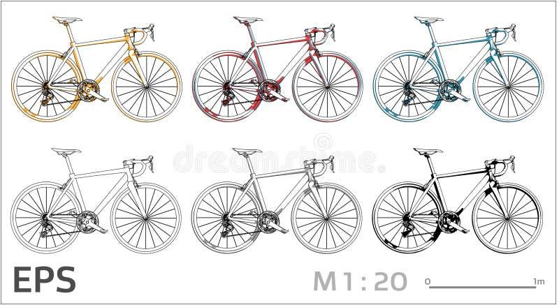 Cyclus vectordiepictogrammen voor architecturale tekening en illustratie worden geplaatst stock illustratie