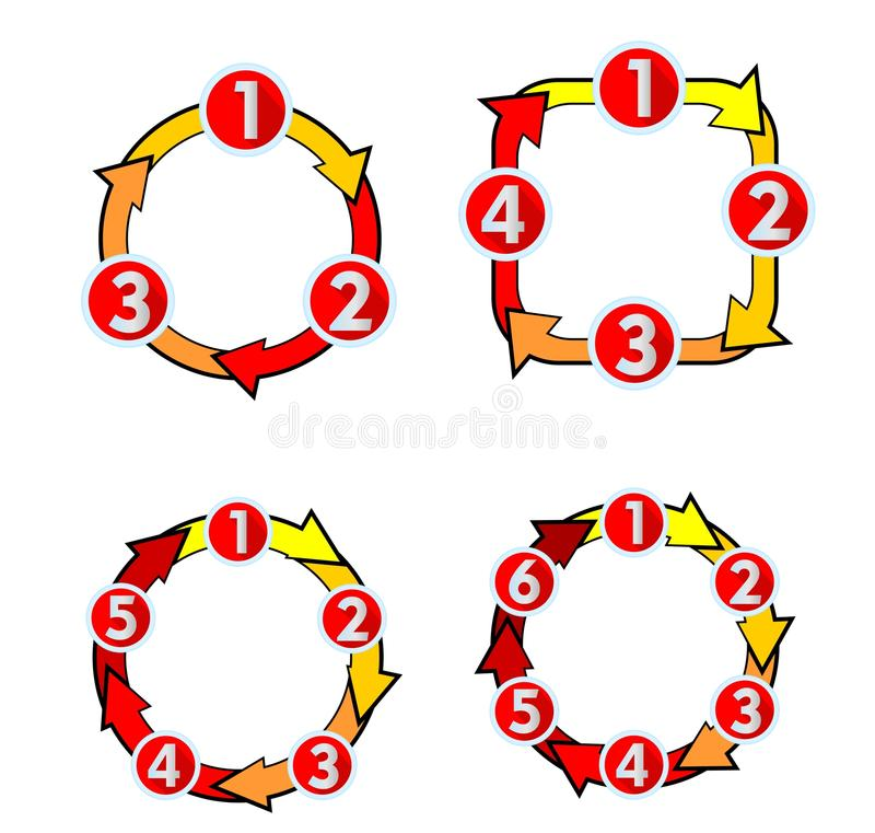 Cyclusdiagram met aantallenpijlen voor drie, vier, vijf zes stappen Het ontwerpelementen van het Infographicmalplaatje vector illustratie