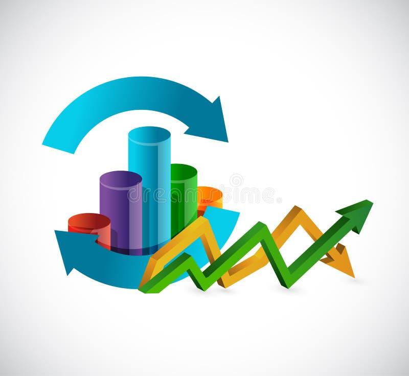 cyclusgrafiek Boven en beneden bedrijfspijlgrafiek royalty-vrije illustratie