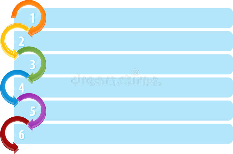 Cycluslijst Zes lege bedrijfsdiagramillustratie stock illustratie