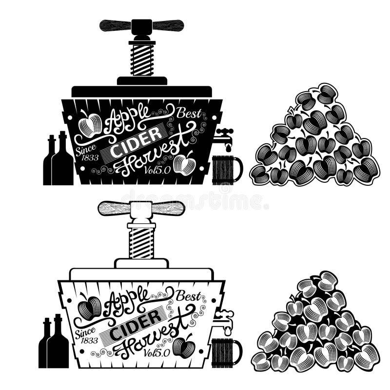 Cydr prasa z rozsypiskiem jabłka Tubka z młynem dla soku Rocznika rytownictwa styl royalty ilustracja