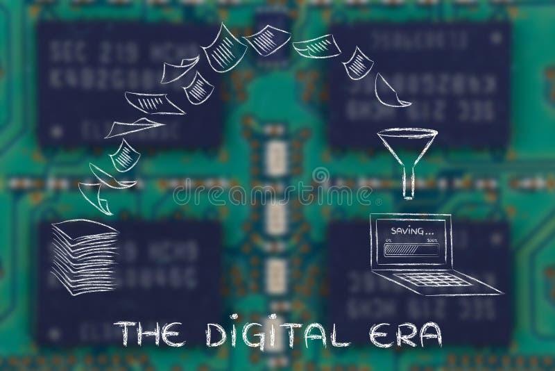 Cyfrowa era: skanujący dokumenty i obracać papier w dane obrazy stock