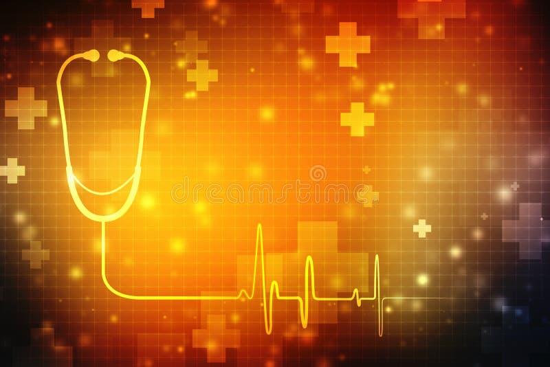cyfrowa ilustracja stetoskop w medycznym tle zdjęcie stock