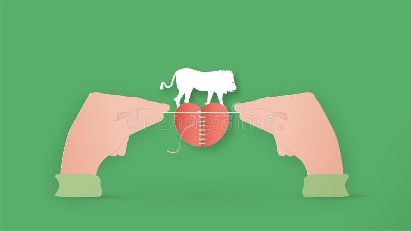 Cyfrowa konstrukcja jednostki w koncepcji ratowania zwierząt Grafika manipulacji wyizolowana na zielonym tle w stylu cięcia papie ilustracja wektor