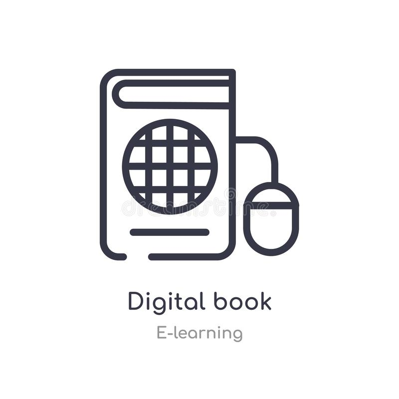 cyfrowa książkowa kontur ikona odosobniona kreskowa wektorowa ilustracja od nauczanie online kolekcji editable cienieje uderzenie royalty ilustracja
