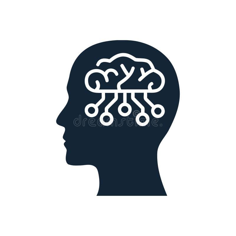 cyfrowa ludzka głowa, mózg, technologia, głowa, pamięć, kreatywnie technologia umysł, sztucznej inteligencji ikona ilustracji