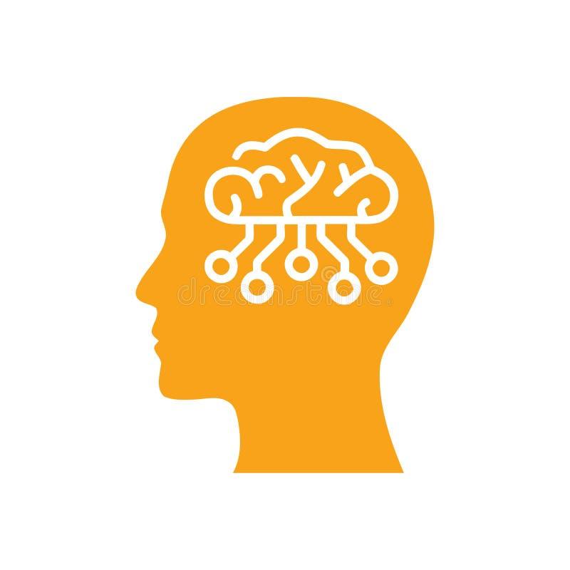 cyfrowa ludzka głowa, mózg, technologia, głowa, pamięć, kreatywnie technologia umysł, sztucznej inteligencji koloru pomarańczowa  ilustracji