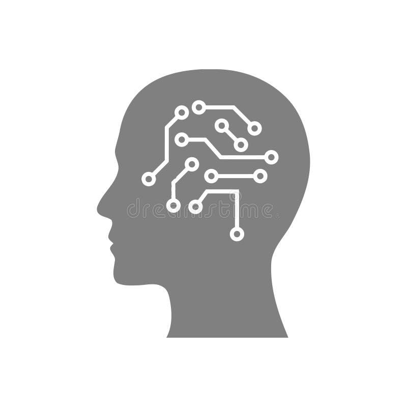 cyfrowa ludzka głowa, mózg, technologia, głowa, pamięć, kreatywnie technologia umysł, sztucznej inteligencji koloru popielata iko ilustracji