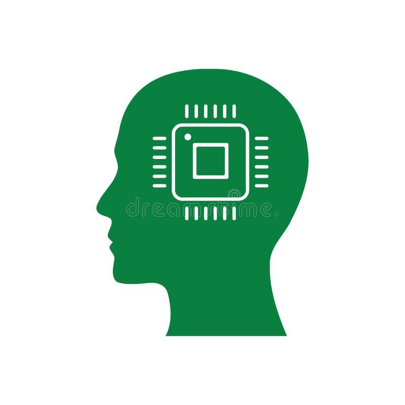cyfrowa ludzka głowa, mózg, technologia, głowa, pamięć, kreatywnie technologia umysł, sztucznej inteligencji zielonego koloru iko ilustracji