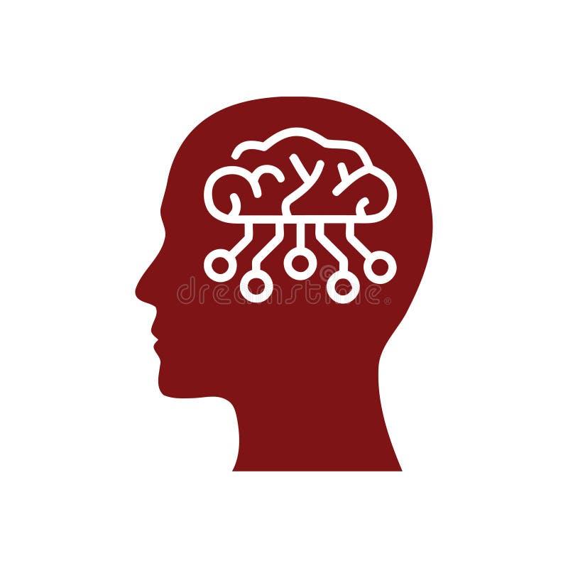 cyfrowa ludzka g?owa, m?zg, technologia, g?owa, pami??, kreatywnie technologia umys?, sztuczna inteligencja wa?koni si? kolor iko ilustracja wektor