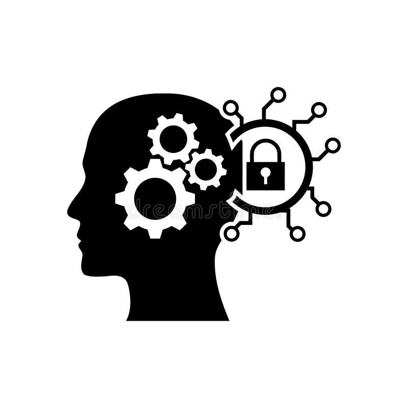 cyfrowa ludzka g?owa, m?zg, technologia, g?owa, pami??, kreatywnie technologia umys?, sztucznej inteligencji czerni ikona ilustracji