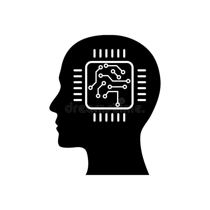 cyfrowa ludzka g?owa, m?zg, technologia, g?owa, pami??, kreatywnie technologia umys?, sztucznej inteligencji czerni ikona ilustracja wektor