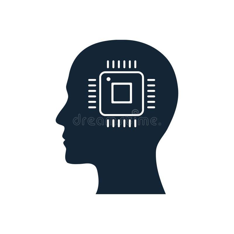 cyfrowa ludzka g?owa, m?zg, technologia, g?owa, pami??, kreatywnie technologia umys?, sztucznej inteligencji ikona ilustracja wektor