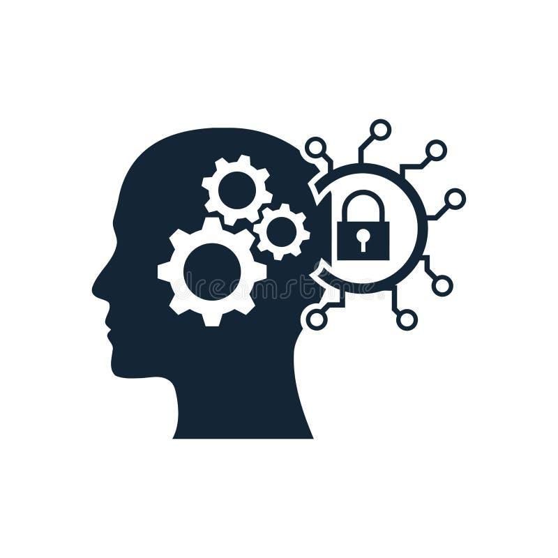 cyfrowa ludzka g?owa, m?zg, technologia, g?owa, pami??, kreatywnie technologia umys?, sztucznej inteligencji ikona ilustracji