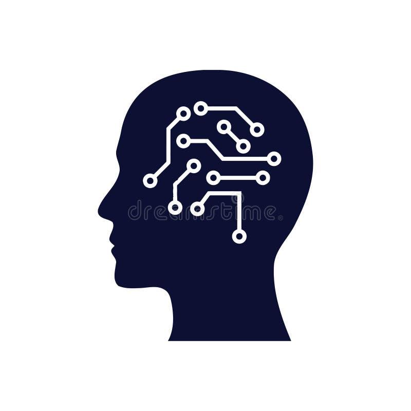 cyfrowa ludzka g?owa, m?zg, technologia, g?owa, pami??, kreatywnie technologia umys?, sztucznej inteligencji koloru b??kitna ikon royalty ilustracja