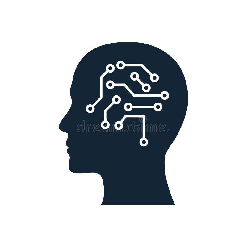 cyfrowa ludzka g?owa, m?zg, technologia, g?owa, pami??, kreatywnie technologia umys?, sztucznej inteligencji koloru b??kitna ikon ilustracja wektor