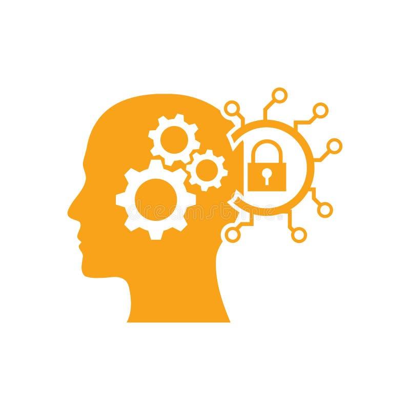 cyfrowa ludzka g?owa, m?zg, technologia, g?owa, pami??, kreatywnie technologia umys?, sztucznej inteligencji koloru pomara?czowa  royalty ilustracja