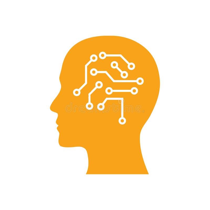cyfrowa ludzka g?owa, m?zg, technologia, g?owa, pami??, kreatywnie technologia umys?, sztucznej inteligencji koloru pomara?czowa  ilustracji
