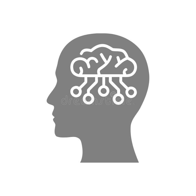 cyfrowa ludzka g?owa, m?zg, technologia, g?owa, pami??, kreatywnie technologia umys?, sztucznej inteligencji koloru popielata iko ilustracja wektor