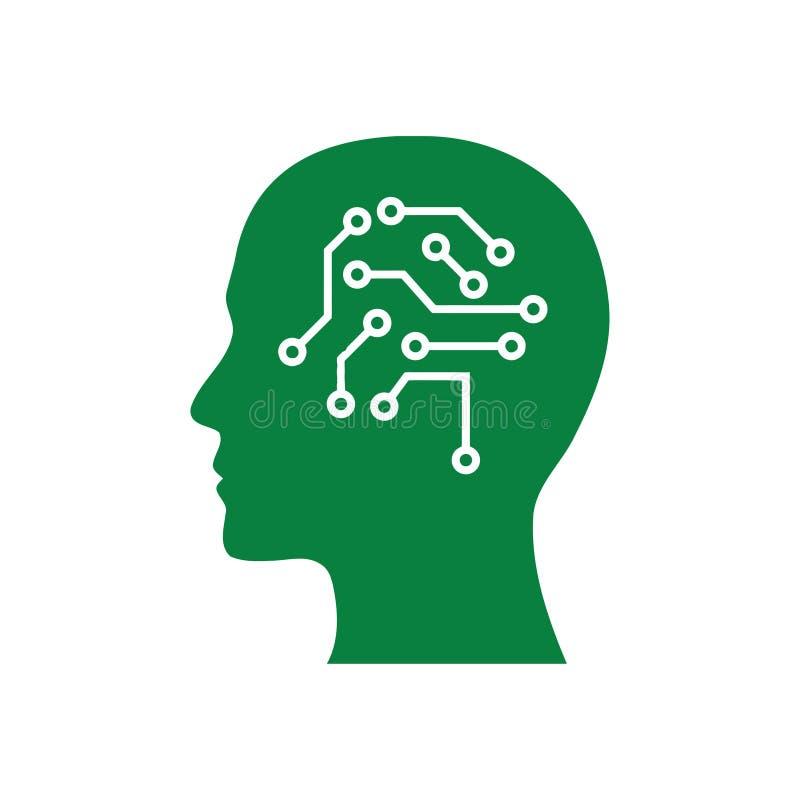 cyfrowa ludzka g?owa, m?zg, technologia, g?owa, pami??, kreatywnie technologia umys?, sztucznej inteligencji zielonego koloru iko ilustracja wektor