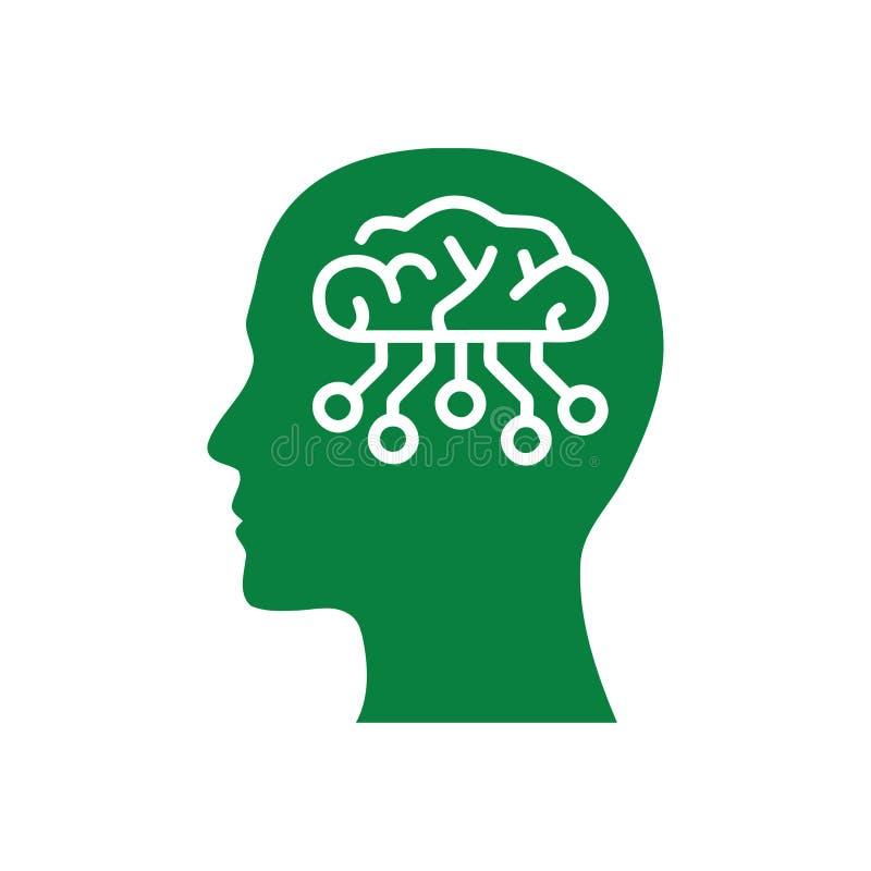cyfrowa ludzka g?owa, m?zg, technologia, g?owa, pami??, kreatywnie technologia umys?, sztucznej inteligencji zielonego koloru iko royalty ilustracja