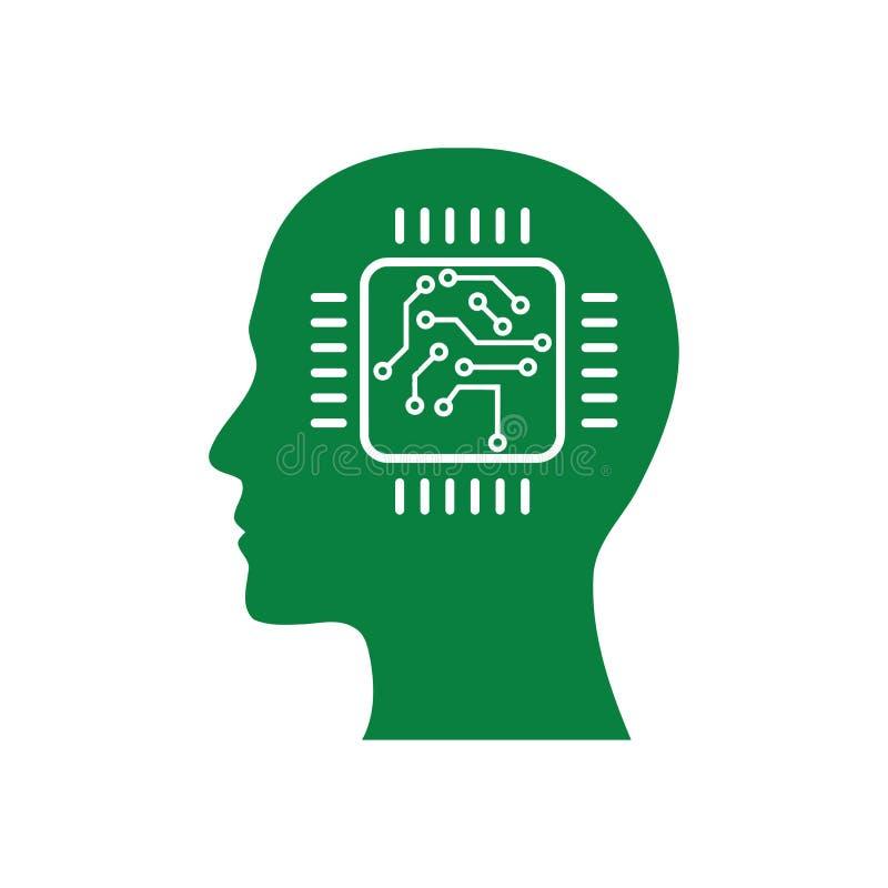 cyfrowa ludzka g?owa, m?zg, technologia, g?owa, pami??, kreatywnie technologia umys?, sztucznej inteligencji zielonego koloru iko ilustracji