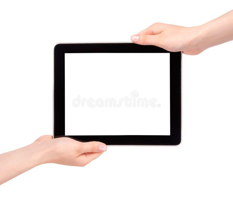 cyfrowa ręki mienia pastylka obrazy stock