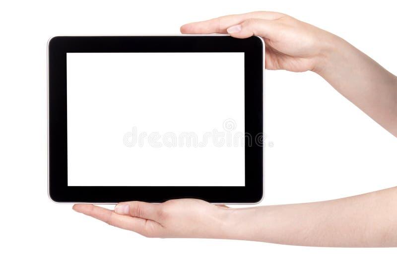cyfrowa ręki mienia pastylka zdjęcia stock