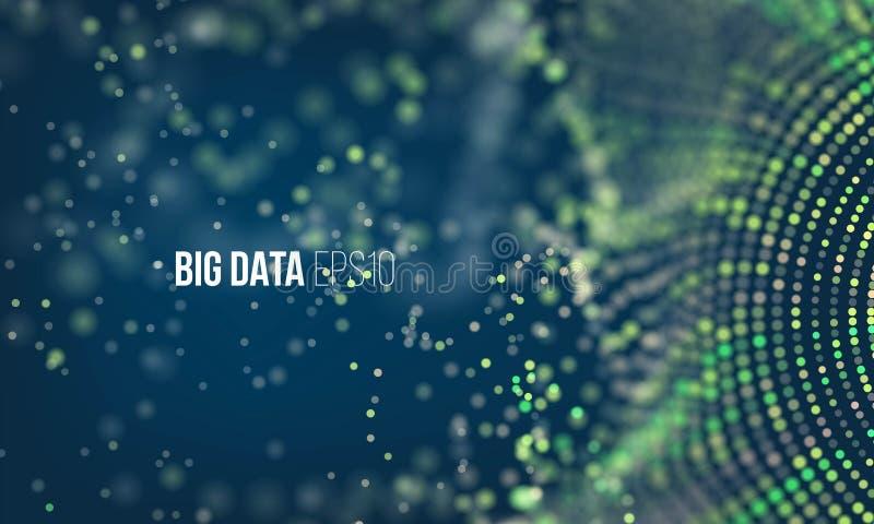 Cyfrowanie proces Duży dane strumienia futurystyczny infographic Kolorowa cząsteczki fala z bokeh royalty ilustracja