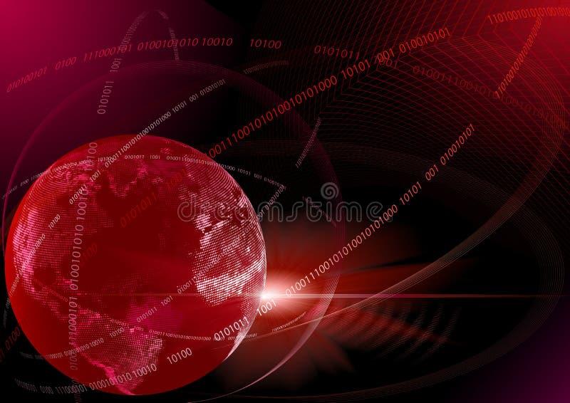 cyfrowe globalne czerwone technologie royalty ilustracja