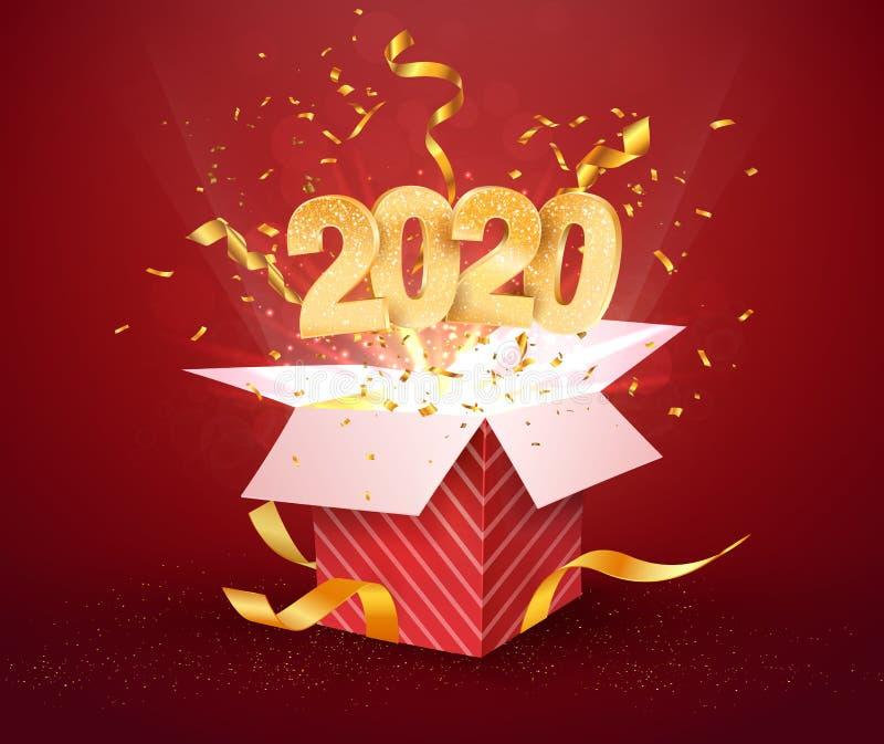 2020-cyfrowe i otwarte czerwone pudełko z wybuchami konfetti izolowany element projektu Szablon święta Bożego Narodzenia w dniu royalty ilustracja