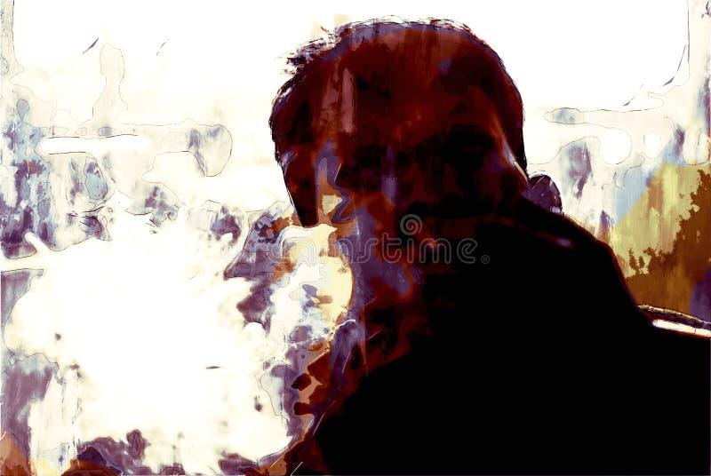Cyfrowe malarstwo osób palących papierosy w ciemnym tonie ilustracji