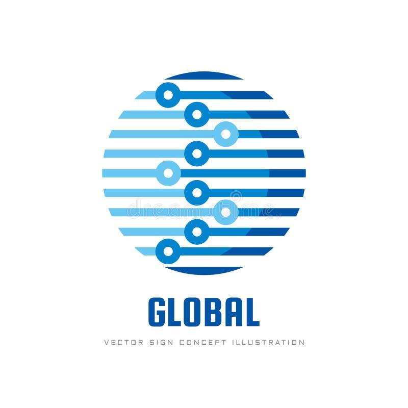 Cyfrowego świat - wektorowa biznesowa loga szablonu pojęcia ilustracja Kula ziemska abstrakta szyldowa i elektroniczna sieć techn ilustracji
