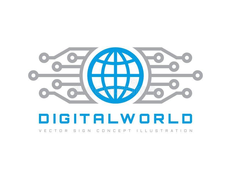 Cyfrowego świat - wektorowa biznesowa loga szablonu pojęcia ilustracja Kula ziemska abstrakta szyldowa i elektroniczna sieć Techn ilustracja wektor