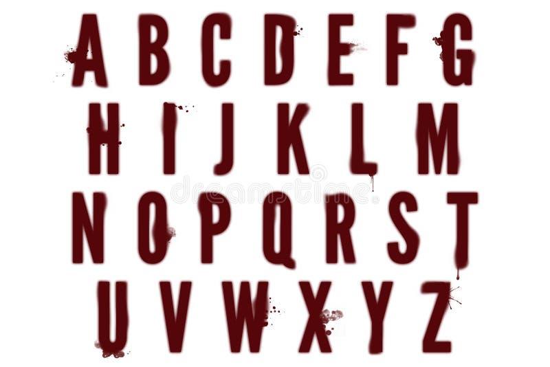 Cyfrowego abecadła Bloodstain Dexter stylu Scrapbooking element ilustracja wektor