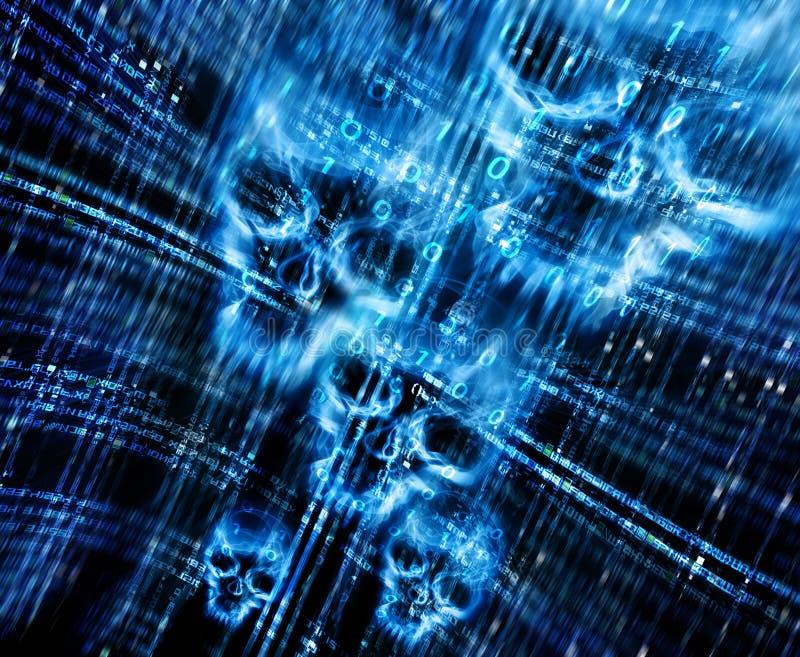 Cyfrowego abstrakcjonistyczny tło z czaszkami zdjęcia royalty free