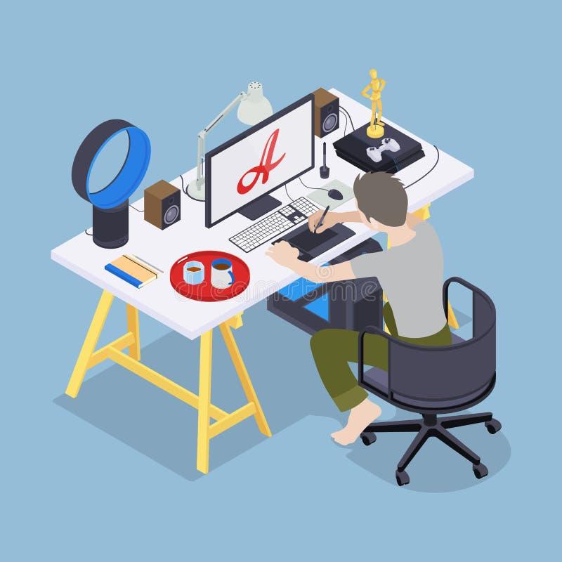 Cyfrowego artysta przy jego miejscem pracy ilustracja wektor