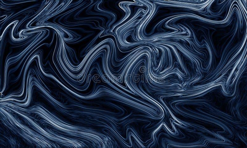 Cyfrowego błękitny abstrakcjonistyczny tło z upłynnia przepływ ilustracja wektor
