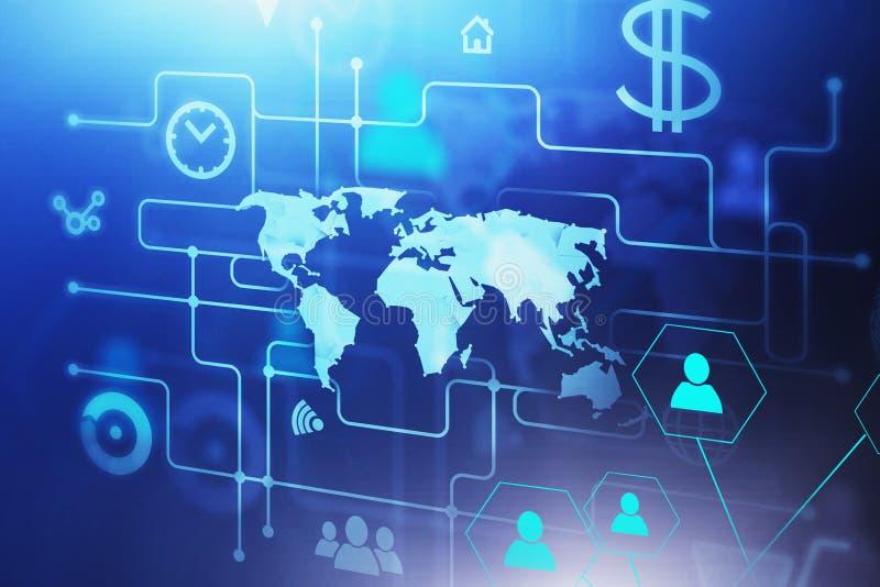 Cyfrowego biznesowy interfejs i światowa mapa royalty ilustracja
