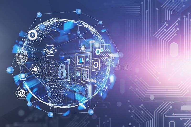 Cyfrowego biznesowy interfejs i planeta hologram ilustracja wektor