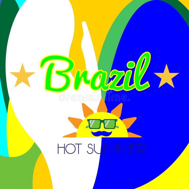 Cyfrowego Brazil wektorowy gorący lato z słońcem ilustracji
