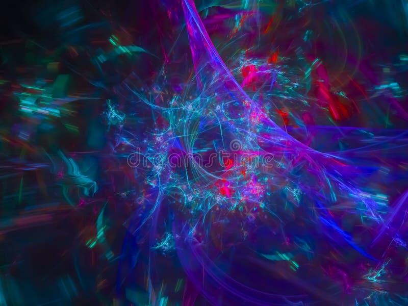 Cyfrowego chaosu abstrakcjonistyczny fractal, wyłączny surrealistyczny zawijasa kształt, dekoracja piękny projekt, fantazja, ilustracji