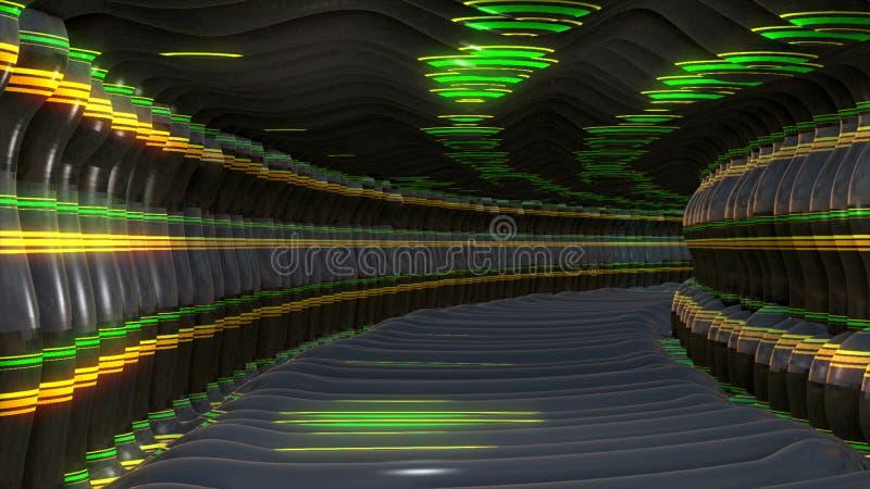 Cyfrowego 3D Tunelowy abstrakcjonistyczny tło royalty ilustracja