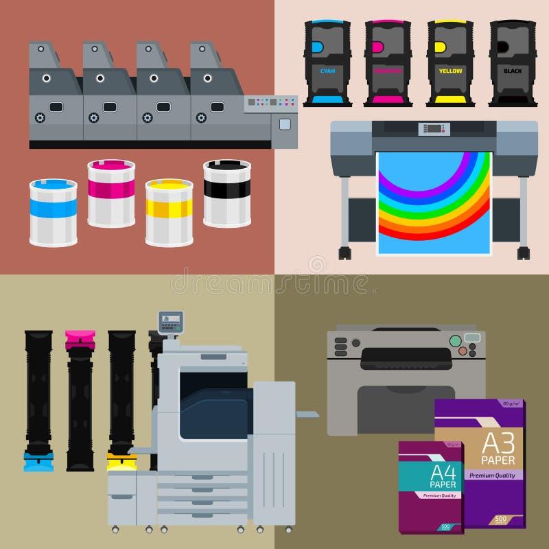 Cyfrowego druku maszyny set obrazy royalty free