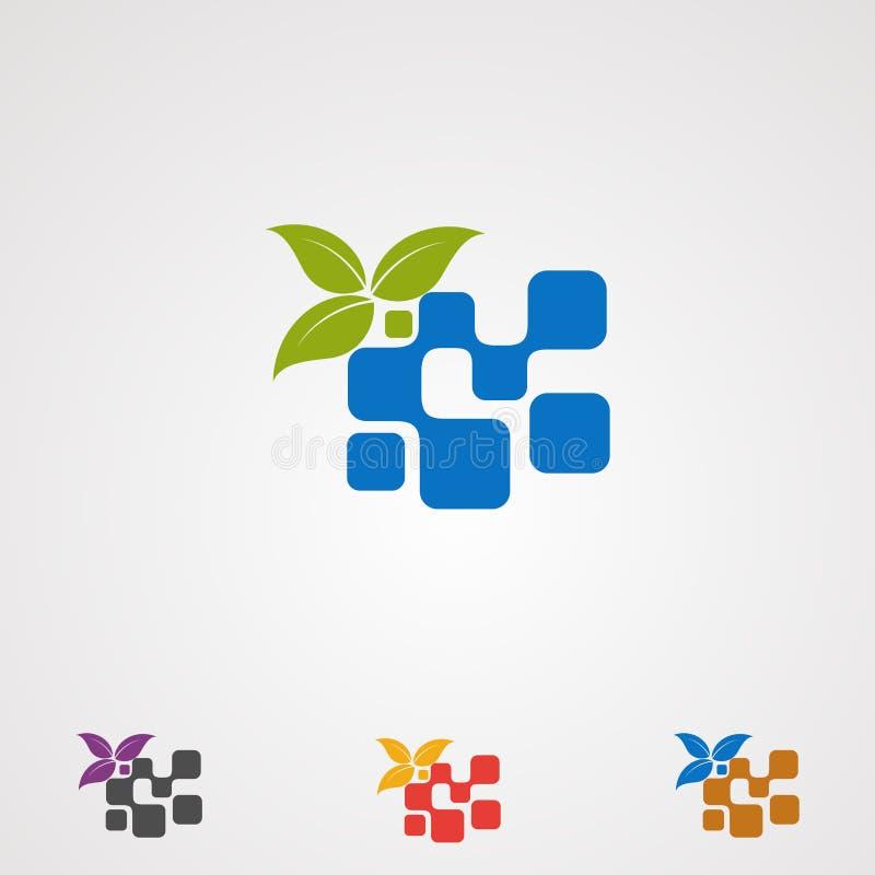 Cyfrowego eco z liścia dotyka logo wektorem, ikona, element, szablon dla firmy ilustracji